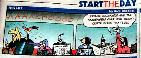 Commuting Colds Cartoon in Metro