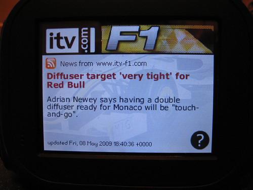 F1 Chumby widget