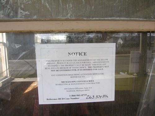 HUD foreclosure notice