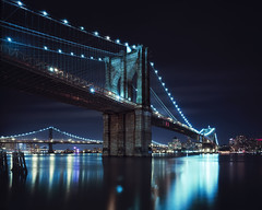 brooklyn bridge at night, nyc photo by andrew c mace