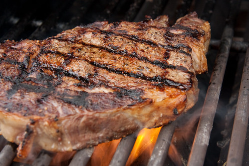 Ribeye on grill action...
