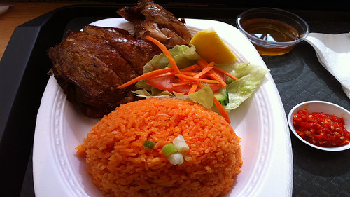 Crispy Chicken Leg with Tomato Rice