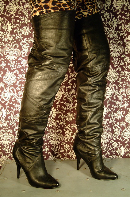 THIGH HIGH BOOTS LEATHER Custom VINTAGE 80s US 8 RARE! | eBay
