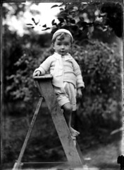 Portrait of small barefoot boy on a wooden ladder photo by Powerhouse Museum Collection