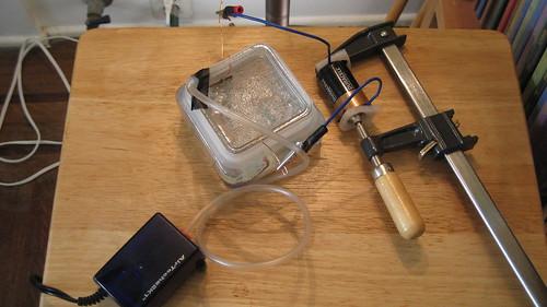 Saltwater etching setup