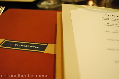 The Clerkenwell menu