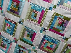 echino log cabin quilt top finished! photo by { philistine made }