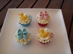 Mossy's Masterpiece - Baby shower cupcakes ducks & baby shoes photo by Mossy's Masterpiece cake/cupcake designs