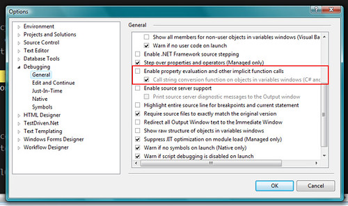 Visual Studio Debugger Options