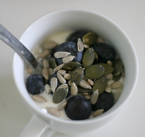 Yogurt with Blueberries, Honey and Seeds