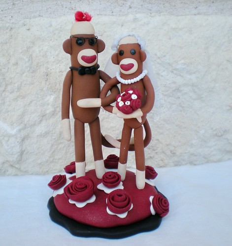 sock monkey wedding cake topper