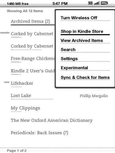 Kindle2 Menu