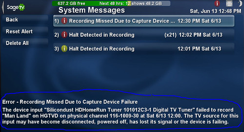 SageTV System Messages 3