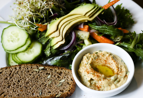 Hummus, Toast and Salad