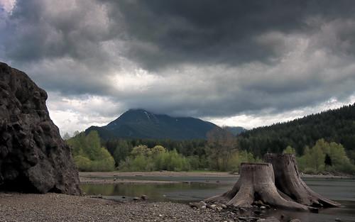 Rock, Mountain, Stump