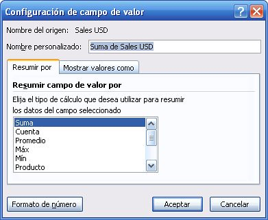 2 configuracion campo de valor pivot table o tabla dinamica Microsoft Office Excel 2007