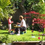A pretend picnic with Nanny<br/>21 May 2009