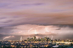 Lightning above Calgary photo by Richard Gottardo