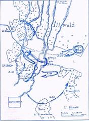 1945- Alsace - Carte de situation du BM 5, BM 4 et 22e BMNA dans l'Illwald