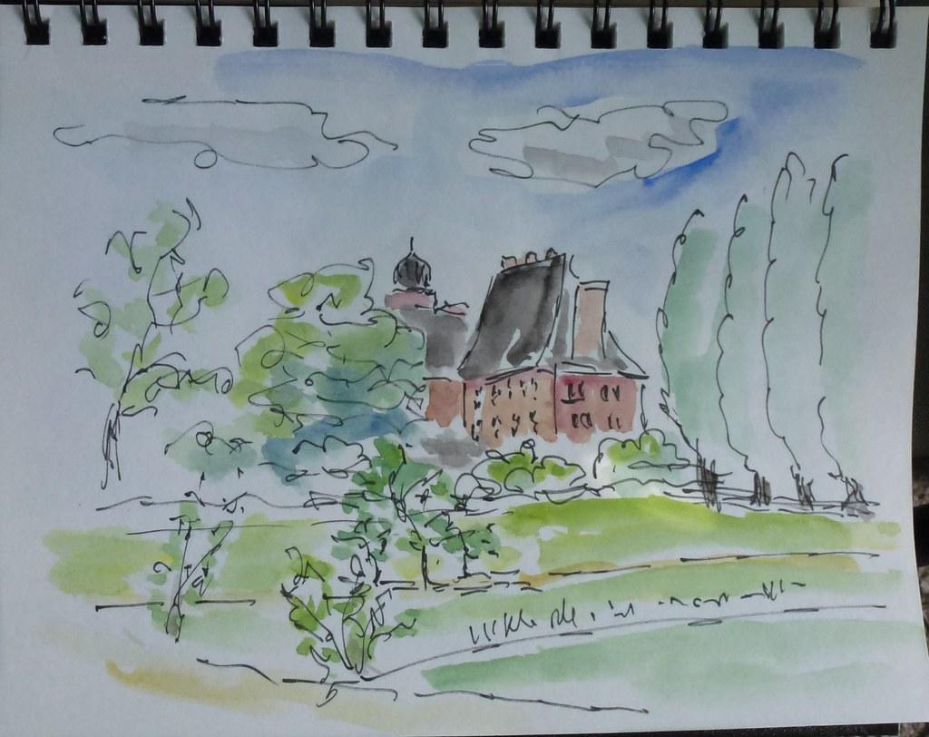 Vemmetofte Kloster, akvarel af Povl Schultze
