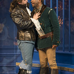 Nate Burger (Dorante) and LaShawn Banks (Cliton) in THE LIAR at Writers Theatre. Photo by Michael Brosilow.