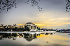 Jefferson Memorial and Potomac Tidal Basin approach sunset - Washington DC photo by mbell1975