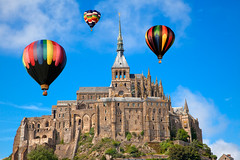 Hot Air Balloons - Mont Saint-Michel photo by freestock.ca ♡ dare to share beauty