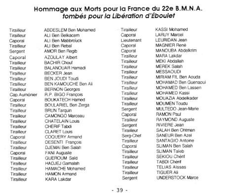 Franche Comté - Chemins de mémoire- Eboulet : Stèle au 22e BMNA