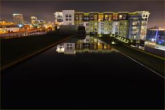 Waterway Apartments and reflection pool, Tacoma, Washington photo by Don Briggs