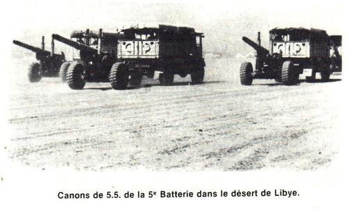RA- 1942  Libye- Canon de 55 de la 5e Bie dans désert de Libye
