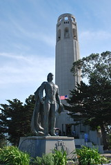 Columbus,  in front of Coit Tower