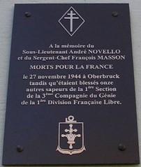 Franche-Comté  - Plaque en mémoire de François Masson et André Novello (Génie)  à Oberbruck - photographie sous licence d'usage CC BY-NC-SA 2.0