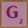 Scrabble pink tile letter G