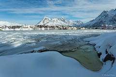 Frozen harbour, Lofoten, Norway photo by Michal Petro