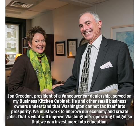 Rep. Liz Pike with local auto dealer Jon Creedon.