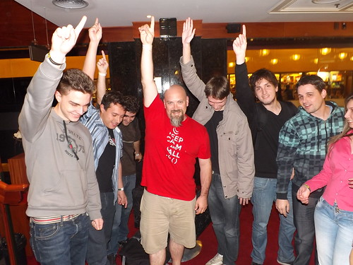 Josh Holmes with the crowd doing the Freddy Mercury pose