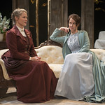 Chaon Cross (Thea Elvsted) and Kate Fry (Hedda) in HEDDA GABLER at Writers Theatre.  Photo by Michael Brosilow.