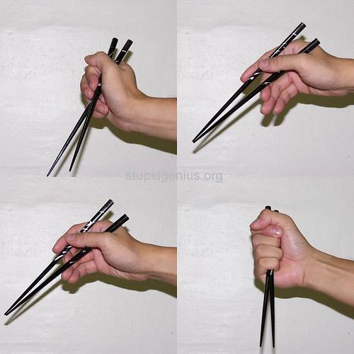 Different methods of holding chopsticks