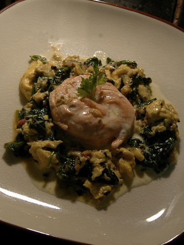Poached salmon with kang kong scrambled eggs