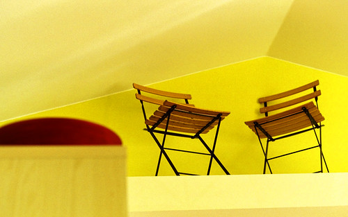 High Chairs,shot with a Nikon F,50mm,f1.8,iso 400 color neg film,Monroe, WA.