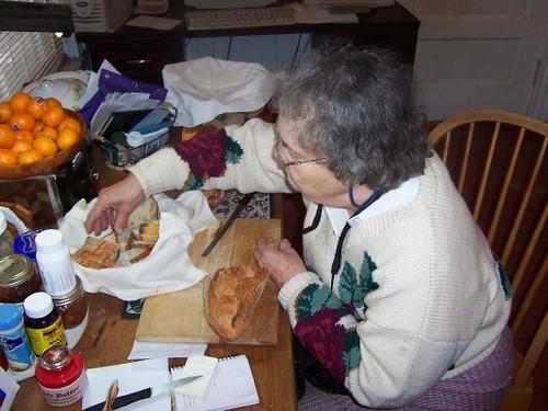 Edith Cutting Bread