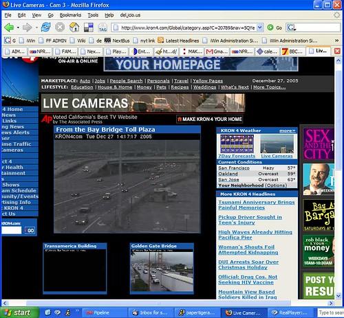 KRON live cams - Bay Bridge toll plaza, not LA