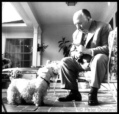 Alfred Hitchcock w terrier-petergowland-dot-com