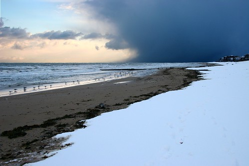 Neige sur une plage de Normandie
