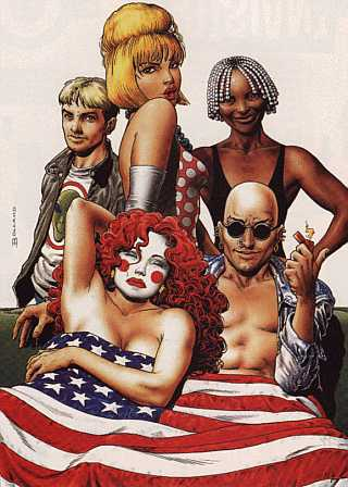 Brian Bolland's cover to issue 2.1, and the paperback collection Bloody Hell In America. Clockwise from top left: Jack Frost, Lord Fanny, Boy, King Mob, Ragged Robin