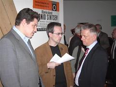 Michael Joukov, Henning Schürig und Fritz Kuhn beim Neujahrsempfang der Grünen in Göppingen 2006