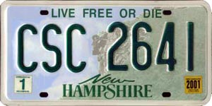 Live Free or Die - New Hampshire Numberplate