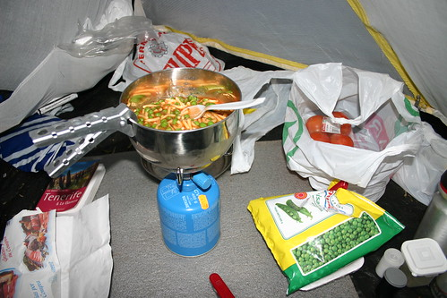 Preparing another Campingaz meal in the tent...