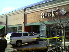 SUV meets bookshop in Porter Square