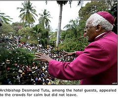 Desmond Tutu on the balcony of the Hotel Montana in Port-au-Prince